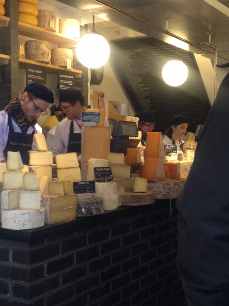 Sampling some great cheeses at Neals Yard, Covent Garden