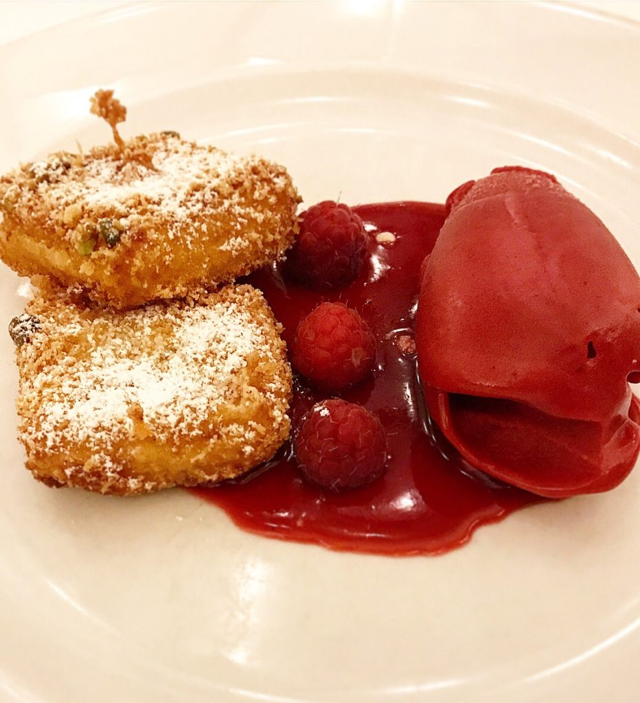 Fried Custard with Raspberry Sorbet
